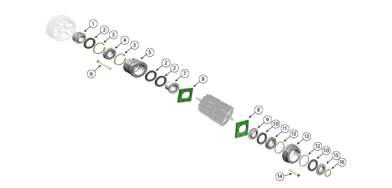7750 7780 7950 7980 Cutterhead Bearing Assembly