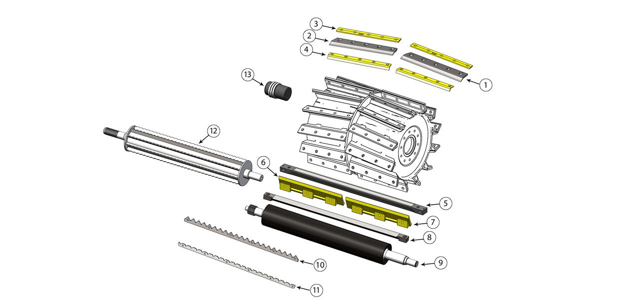 FR 480 550 650 780 Series Cutter Drum Feed Roll Assembly