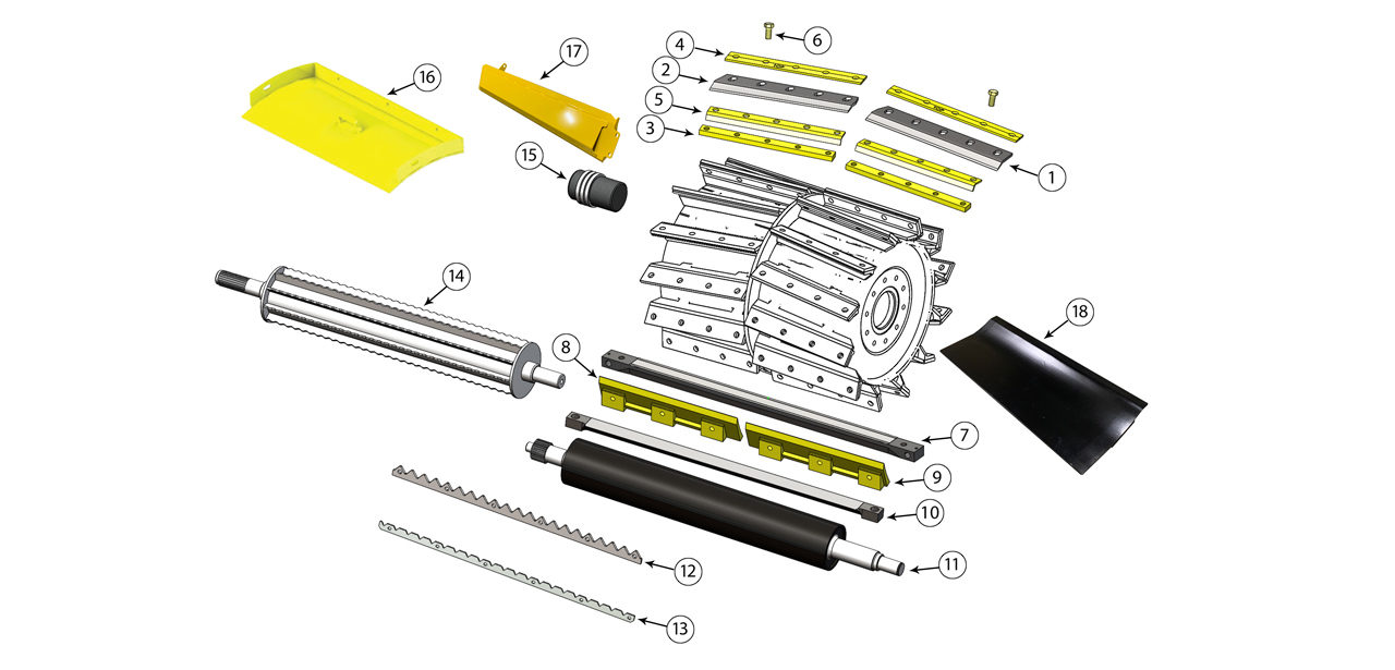 FR 9000 Series Cutter Drum Feed Roll Assembly